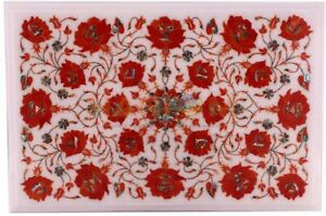 """18""""x12"""" White Marble Coffee Table Top Carnelian Floral Inlay Home Decorates W536"""