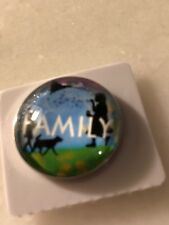 SNAP IN BUTTON CHARM FITS GINGER SNAPS STYLE JEWELRY FAMILY GIRL #45 GLASS