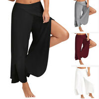 Fashion Sexy Waist Wide Leg Flowy Pants Women Casual Summer Long Loose Yoga Pant
