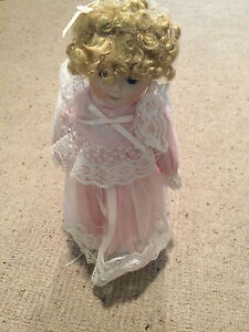 """Vintage Hard Plastic Doll 12"""" Tall Curly Hair Pink clothes w doll stand VGC"""