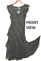SIZE 8 UK Black luxury Silk 93% 7%ea DKNY full length dress PROM & PARTY new