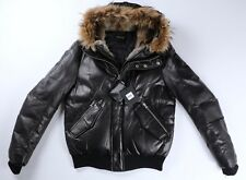 MACKAGE Mens Black Leather GLEN Down Fur Bomber Parka Jacket Size 42 NWT $1650
