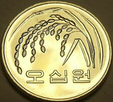 Gem Unc South Korea 2015 F.A.O. Issue 50 Won~Wild Oat Sprig~Excellent Free Ship