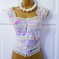 PHOOL Y2K Pink Floral Ditsy Print Hippy Lace / Boho / Gypsy / Ethnic Top * UK 14