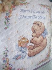 DIMENSIONS CROSS STITCH SWEET PRAYER BABY QUILT KIT NOW I LAY ME DOWN BEAR ANGEL