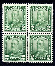 Weeda Canada 150 VF MNH block of 4, 2c green KGV Scroll issue CV $24