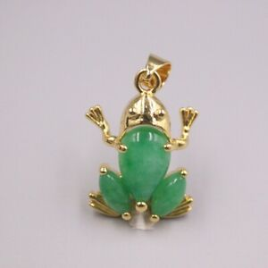 GP Heating Jade Pendant For Women Female Gold Lace Loving Frog Charms 28*17mm