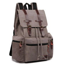 Unisex Tourist Camping Canvas Real Leather Mountaineering School Bag Backpack Grey