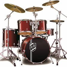 More details for custom bass drum sticker personalised initials shield crest kick drum decal