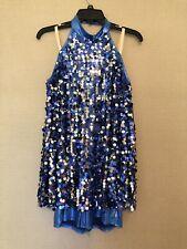 Adult Large Weissman Blue Silver Sequin Halter Romper Dress Dance Wear Costume