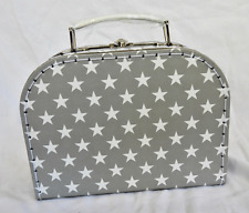 Rétro Gris et Blanc Star Design Valise Style Boîte de rangement-NEUF
