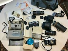 Camera Mixed Lot Polaroid 230 Pentax K1000 35mm lenses cases timer untested