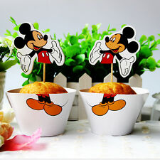 24pcs Mickey Mouse Disney Kids Birthday Party 12 Wraps + 12 Cupcake Cake Toppers