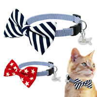 Star Bow Tie Dog Cat Kitten Collar Personalized Disc Tag Engraved Dog Gromming