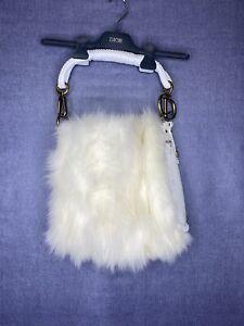 Christian Dior White Fur Bag