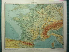 1921 MAP ~ FRANCIA Fisica ~ PARIS LYON Normandia Alpine