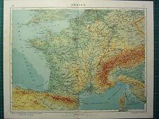 1921 MAP ~ FRANCIA Fisica ~ PARIS LYON Normandia Alpine