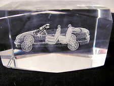 Car  (Mercedes?) Inside of a Block of Glass Curio or Paper Weight