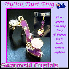 Shoe Rose Dust Plug Phone Accessory Jewellery Charm Pendant Gift iPhone Samsung