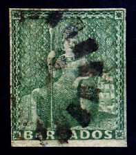 Barbados. 1858. 1/2d. Deep Green. SC# 5. SG# 8. White paper. F Used. Tear