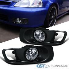 Fit Honda 99-00 Civic EK 2/3/4Dr Clear Fog Lamps Bumper Lights Kit+Switch Pair