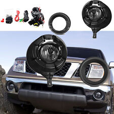 for 05-15 Nissan Frontier Metal Chrome Bumper Clear Fog Light Lamps Complete Kit