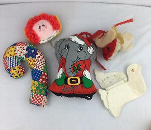 Vintage Christmas Ornaments Fabric Handmade Lot Of 5