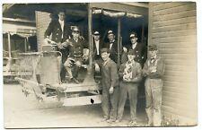 RPPC NY Oswego Street Car Trolley Train Crew Mechanics with Dog Oswego County