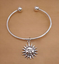 925 Sterling Silver Screw End Torque Bangle & SUN Charm, 63 mm & 2.5 mm Thick