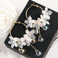 Women Drop Earrings Crystal Tassel Dangle Acrylic Flower Jewelry Accessories
