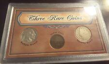 THREE RARE COINS, 1937 BUFFALO NICKEL, 1908 INDIAN CENT, 1902 LIBERTY NICKEL