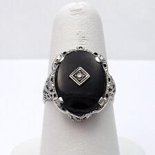 Art Deco 10k White Gold Onyx Diamond Mourning Filigree Ring Sz 8