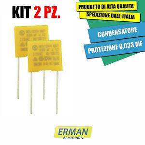 KIT 2PZ CONDENSATORE DI PROTEZIONE 0,033 MF -  33NF X2 275 VAC PASSO 10