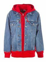 Levi's Womens Ex-Boyfriend Hybrid Hooded Trucker Jacket Sweatshirt 727370000 NWT