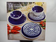 18 Piece 6 Place Setting 100% Melamine Dinnerware Set Cobalt Blue MOP Design NEW