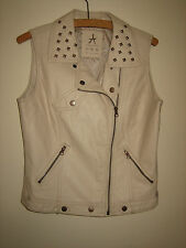 A WOMENS LOVELY ATMOSPHERE CREAM FAUX SUEDE  JACKET  SIZE 10 ZIP & POP BUTTONS