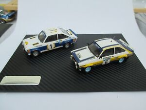 FORD ESCORT MkII rally car models with carbon effect plinth
