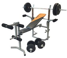 V-Fit Stb09-2 Folding Weight Bench With 60kg Cast Iron Weight Set