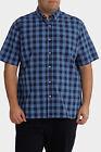 NEW Jack Stone 3XL-7XL Short Sleeve Check Shirt Blue