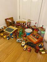 Vintage Bundle Job Lot Toys 1970s Musical Windup Plane Tin Moneybox Fisher Price