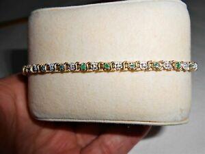 "Emerald and Diamond Tennis Bracelet, 7 1/2"", 10k"