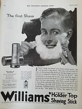 1920 Vintage Williams Holder Top Shaving Stock First Shave Botkin Art Ad