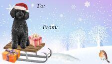 Poodle Black Dog Christmas Labels by Starprint - Design No. 8
