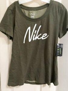 NWT Nike Dri-Fit Women's Medium Scoop Army Green Short Sleeve T-shirt CQ0258-325
