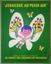 """HERVé MORVAN ancienne affichette originale (années 50-60) """"JEUNESSE EN PEIN AIR"""""""