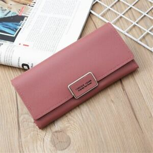 Large-capacity Long Purse Solid Color PU Leather Forever Young Long Wallet