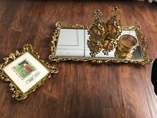 Ormolu Style Dresser Vanity Set Cherubs Amber Perfume Bottles Jewel Box