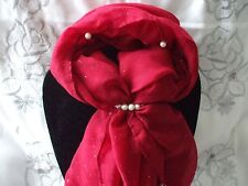 Scarf + Scarf Ring Gift Set Red Pearl Beaded with Cream Pearl Ring in Gift Bag