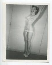 Classic Woman Stretching Panties Down Ripe Bust 1950 Original Nude Photo  B5835