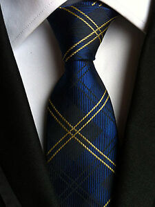 (NT050) 8cm Wide Silk Blue Tartan Men Neck Tie Wedding Business Party Formal Tie